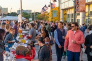 A large crowd of people at the Stamford Brew and Whiskey Festival