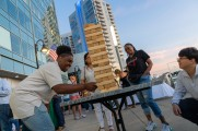 Staff playing Jenga at the Stamford Brew and Whiskey festival
