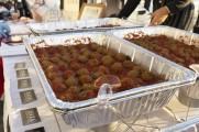Meatballs in trays on a table