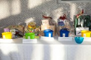 A Table of Silent Auction Baskets at Jazz on the Rocks 2015