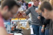 man samples whiskey at stamford brew and whiskey festival 2018