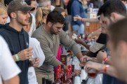 patrons order drinks from vendors at stamford brew and whiskey festival 2018