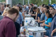 patrons order drinks from vendors at stamford brew and whiskey fest 2018
