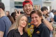 man and women smile for photo at stamford brew and whiskey festival 2018