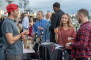 man and woman order beer from vendor at stamford brew and whiskey festival 2018