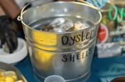 Bucket of oysters at vendor table stamford brew and whiskey festival 2018