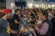 patrons get drinks from vendors at stamford brew and whiskey festival 2018