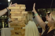 patrons play jenga at stamford brew and whiskey festival 2018