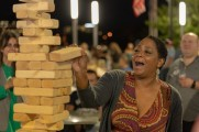 woman plays jenga at stamford brew and whiskey festival 2018