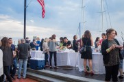Patrons Socialize and Get Food and Drinks From Stands At Stamford Brew and Whiskey Festival 2017