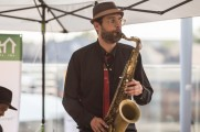 Man Performs Saxophone At Stamford Brew and Whiskey Festival