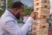 Man Having Fun Playing Jenga At The Stamford Brew and Whiskey Festival 2017