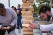 Men Having Fun Playing Jenga At The Stamford Brew and Whiskey Festival 2017