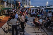 Patrons Enjoying Drinks and Food At The Stamford Brew and Whiskey Festival 2017