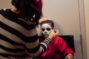 Little Boy Getting Skull Face Paint At 2016 Winter Warmup