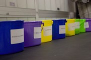 Colored Raffle Buckets at the 2016 Winter Warmup