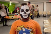 Little Boy Smiling With Skull Face Paint at the 2016 Winter Warmup