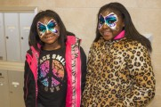 Young Girls With Butterfly Face Paint Smile At Winter Warmup 2017