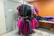 coats on metal coat rack at winter warm up 2018 new neighborhoods
