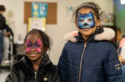 young girls with face paint winter warm up 2018 new neighborhoods